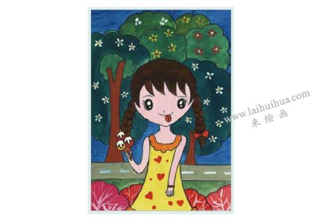吃冰激凌的女孩水粉画作画步骤04