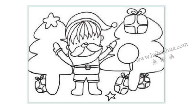 课送圣诞礼物的小男孩水粉画作画步骤01