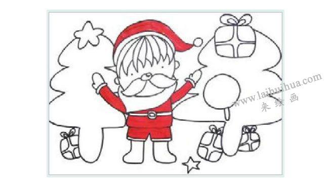 课送圣诞礼物的小男孩水粉画作画步骤02