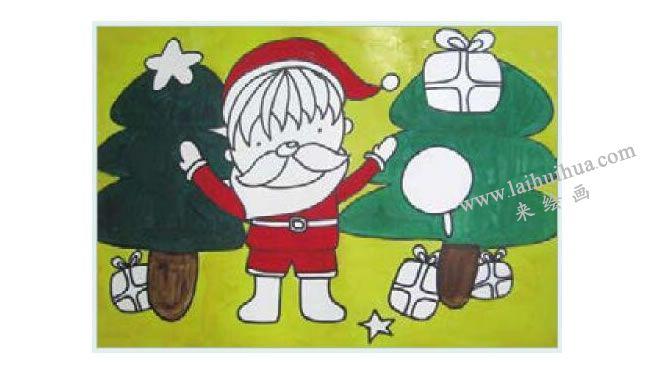 课送圣诞礼物的小男孩水粉画作画步骤03