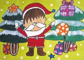 课送圣诞礼物的小男孩水粉画作画步骤