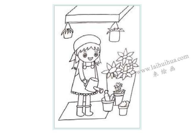 花店前的女孩水粉画作画步骤01