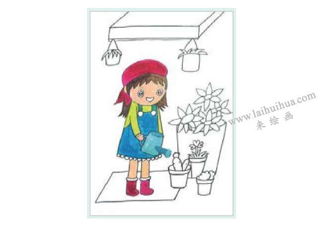 花店前的女孩水粉画作画步骤02
