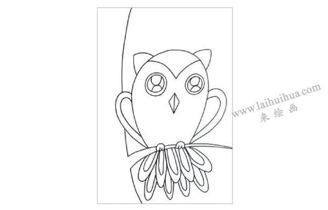 夜晚的猫头鹰水粉画作画步骤01