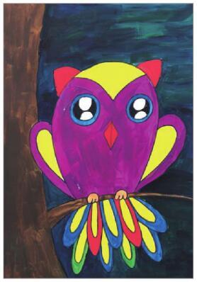 夜晚的猫头鹰水粉画作画步骤04