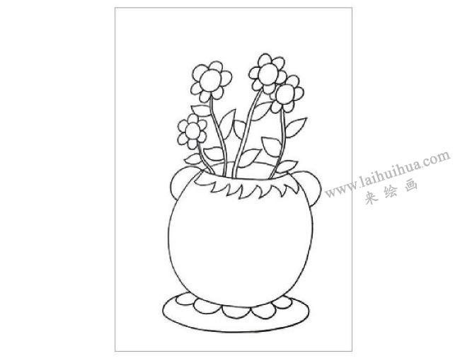 窗台上的花盆水粉画作画步骤01