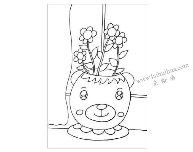 窗台上的花盆水粉画作画步骤02