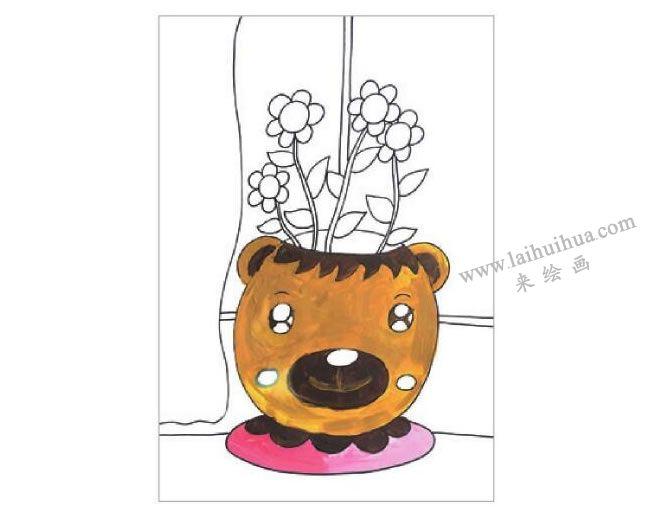 窗台上的花盆水粉画作画步骤03