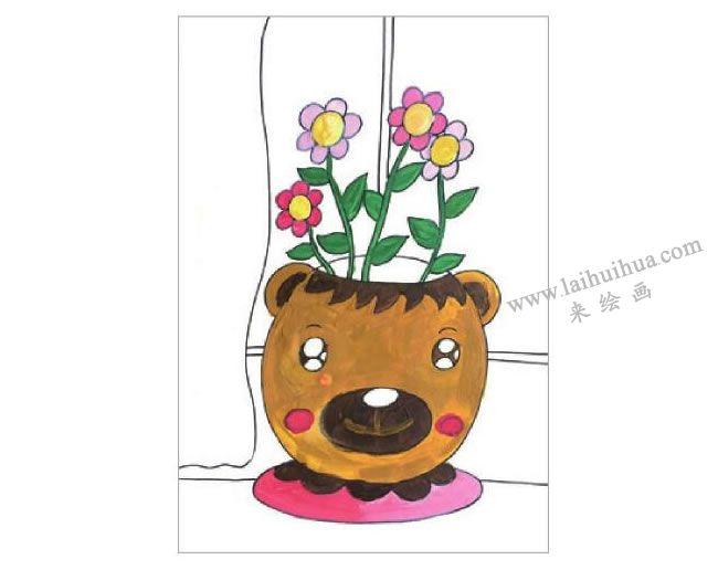 窗台上的花盆水粉画作画步骤04