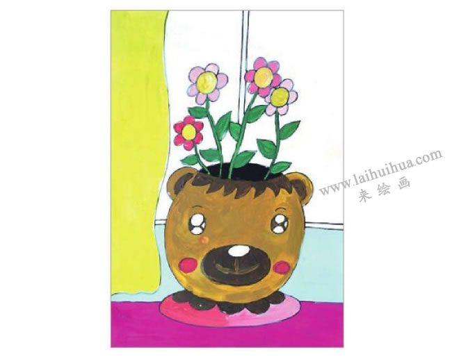 窗台上的花盆水粉画作画步骤05