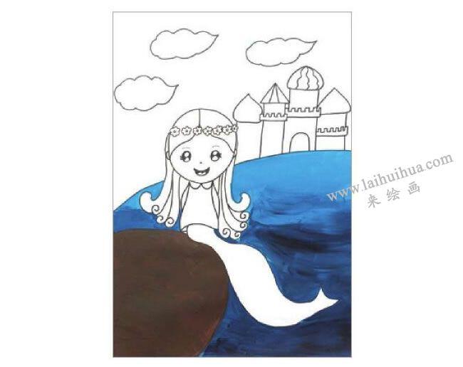 海的女儿美人鱼水粉画作画步骤02