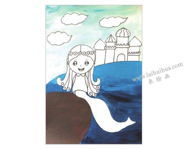 海的女儿美人鱼水粉画作画步骤03