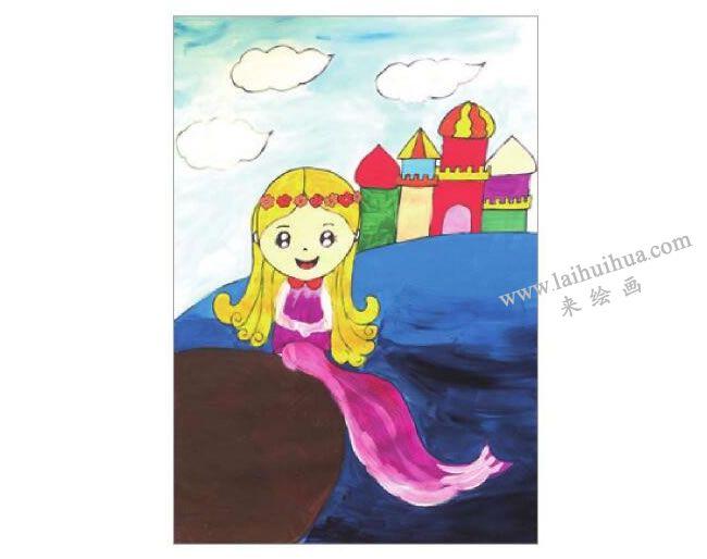 海的女儿美人鱼水粉画作画步骤05