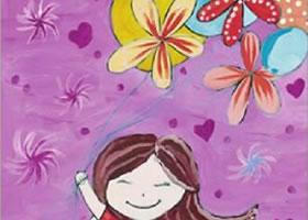女孩的气球水粉画作画步骤