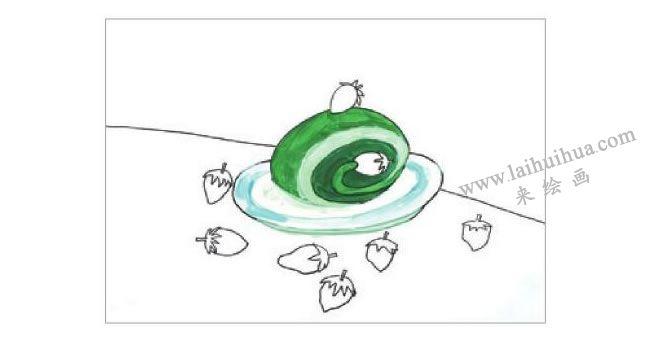 抹茶蛋糕水粉画作画步骤02