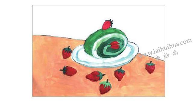 抹茶蛋糕水粉画作画步骤04