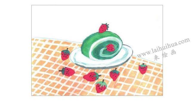 抹茶蛋糕水粉画作画步骤05