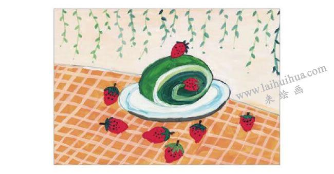 抹茶蛋糕水粉画作画步骤06