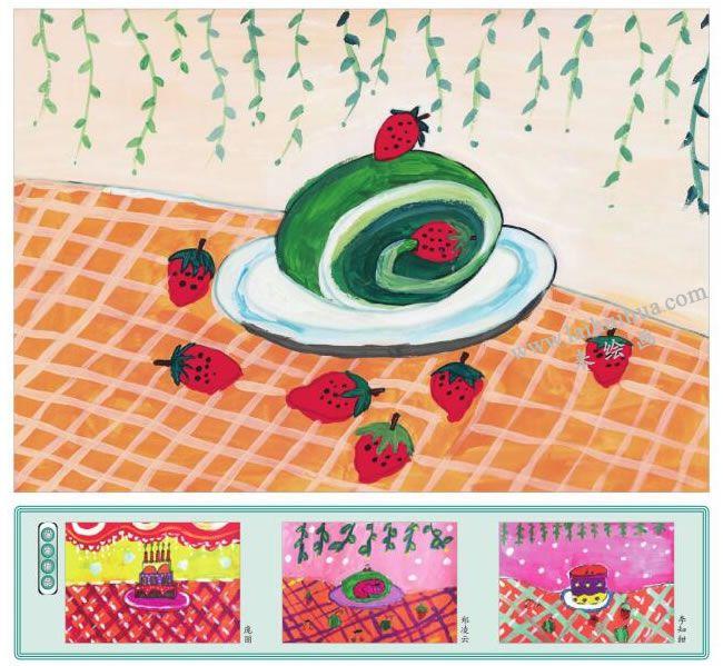 抹茶蛋糕水粉画