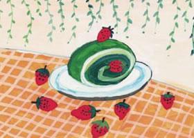 抹茶蛋糕水粉画作画步骤