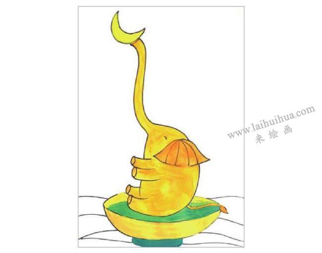 俏皮的大象水粉画作画步骤03