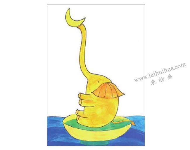 俏皮的大象水粉画作画步骤04