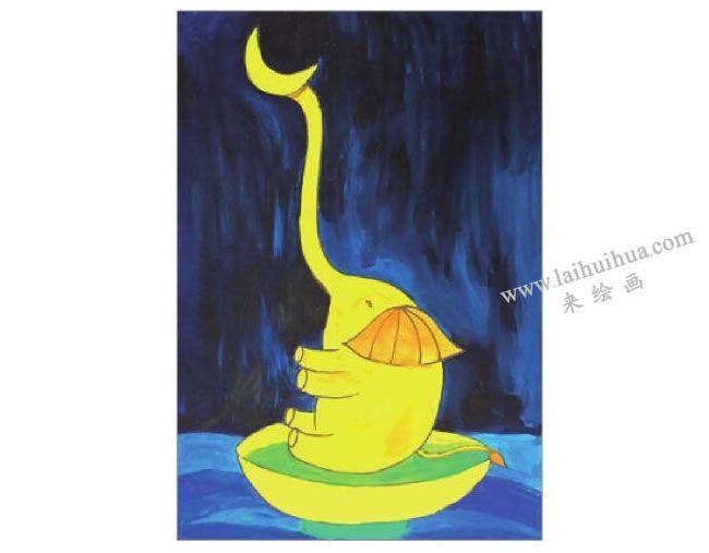 俏皮的大象水粉画作画步骤05