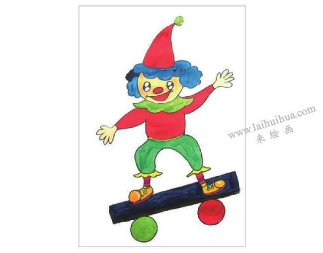 小丑的舞台水粉画作画步骤03