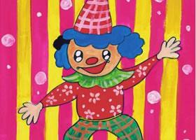 小丑的舞台水粉画作画步骤