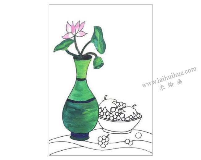 静物组合花瓶和果盘水粉画作画步骤02