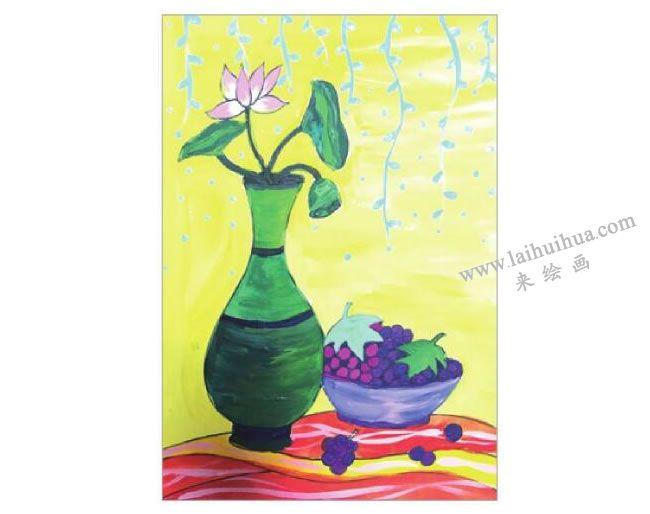 静物组合花瓶和果盘水粉画作画步骤05