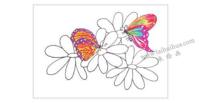 蝴蝶与花水粉画作画步骤02