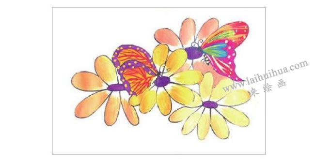 蝴蝶与花水粉画作画步骤03