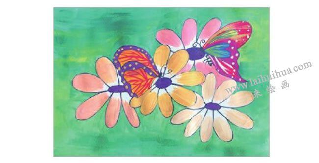 蝴蝶与花水粉画作画步骤04