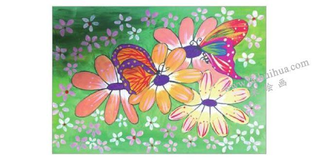 蝴蝶与花水粉画作画步骤05