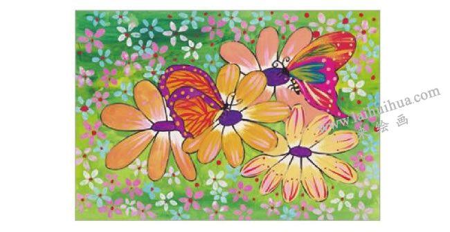 蝴蝶与花水粉画作画步骤06