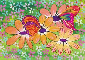 蝴蝶与花水粉画作画步骤