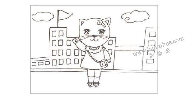 小猫上学水粉画作画步骤01
