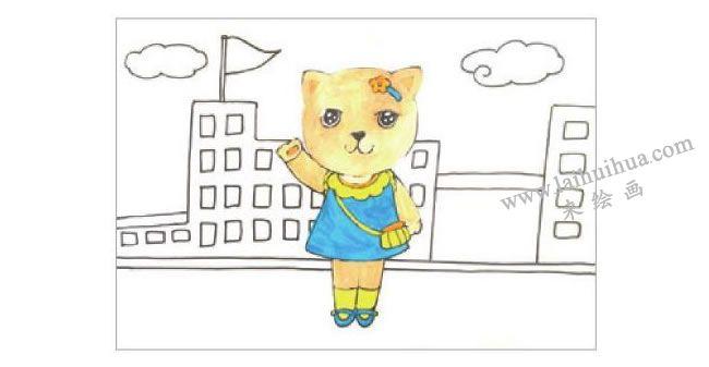 小猫上学水粉画作画步骤02