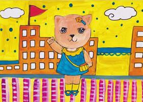 小猫上学水粉画作画步骤