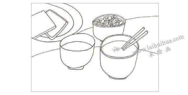 可口的早餐水粉画作画步骤01
