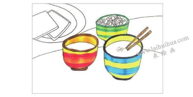 可口的早餐水粉画作画步骤02