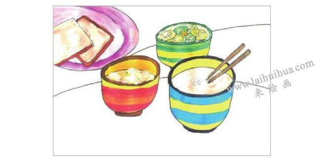 可口的早餐水粉画作画步骤03