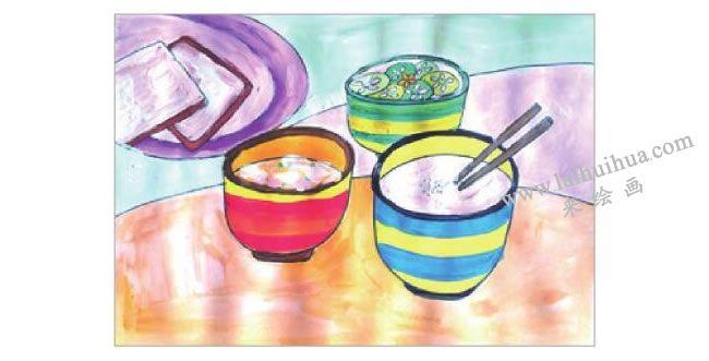 可口的早餐水粉画作画步骤04