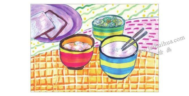 可口的早餐水粉画作画步骤05