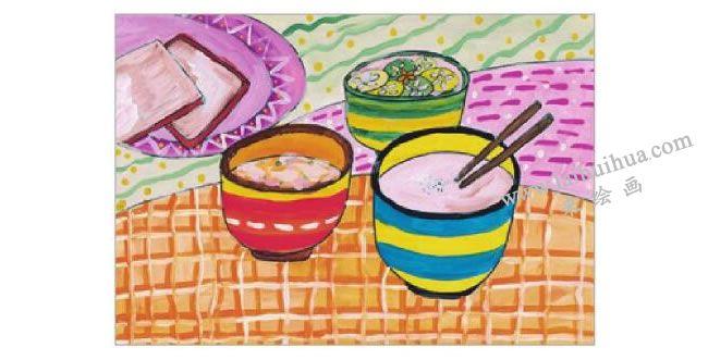 可口的早餐水粉画作画步骤06