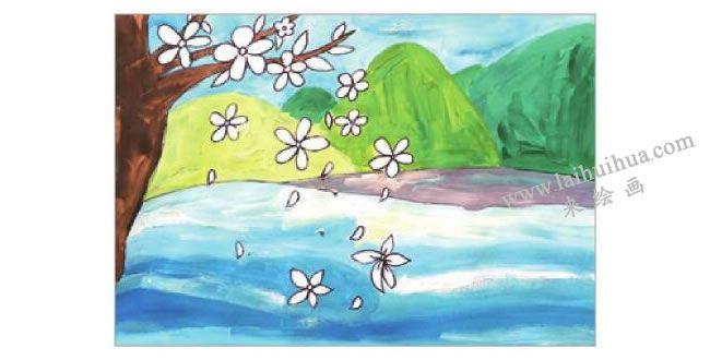 飘落的花瓣水粉画作画步骤04