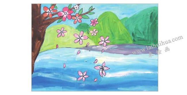 飘落的花瓣水粉画作画步骤05