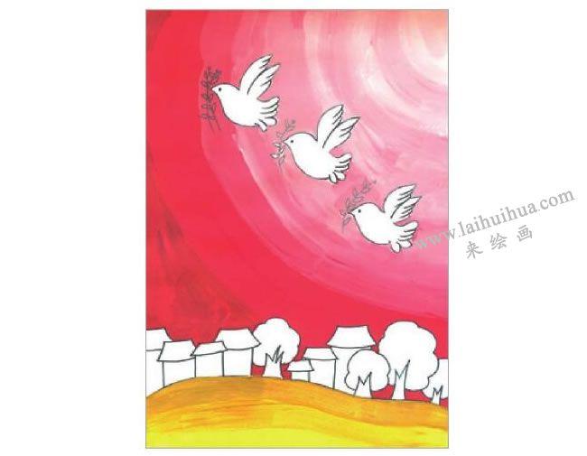 迎着朝阳飞翔的鸽子水粉画作画步骤04