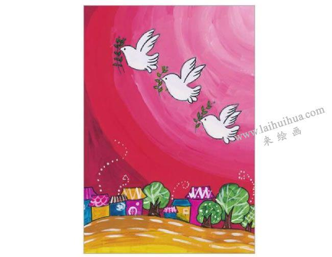 迎着朝阳飞翔的鸽子水粉画作画步骤06
